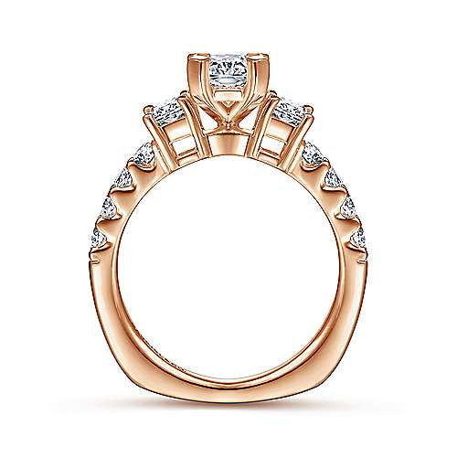 14K White-Rose Gold Emerald Cut Three Stone Diamond Engagement Ring