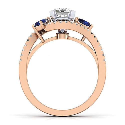 14K White-Rose Gold Emerald Cut Three Stone Sapphire and Diamond Engagement Ring