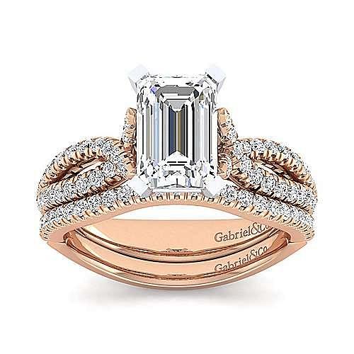 14K White-Rose Gold Emerald Diamond Twisted Engagement Ring