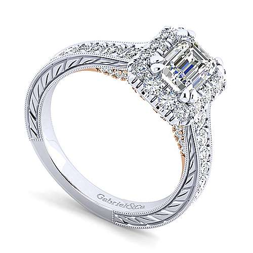 14K White-Rose Gold Emerald Halo Diamond Engagement Ring