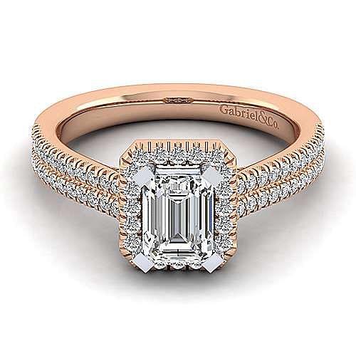 14K White-Rose Gold Emerald Halo Diamond Engagement Ring
