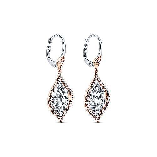 14K White-Rose Gold Fashion Earring