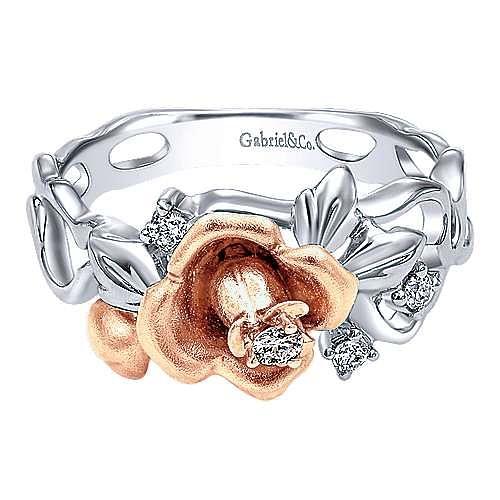 Gabriel - 14K White-Rose Gold Fashion Ladies' Ring