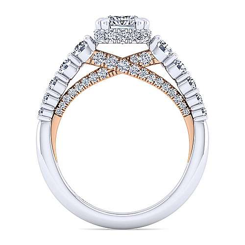 14K White-Rose Gold Hidden Halo Cushion Cut Diamond Engagement Ring