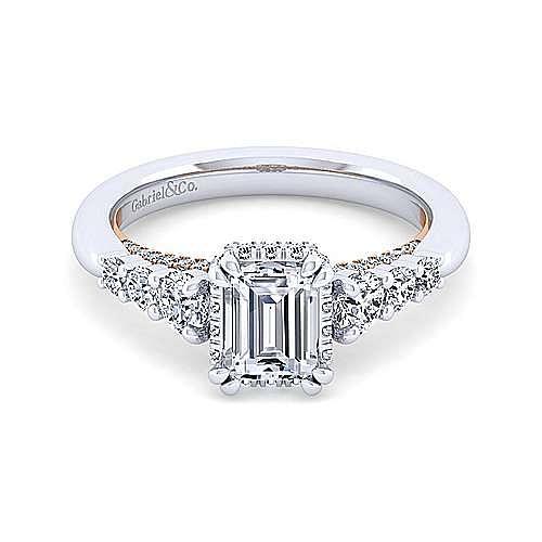 14K White-Rose Gold Hidden Halo Emerald Cut Diamond Engagement Ring
