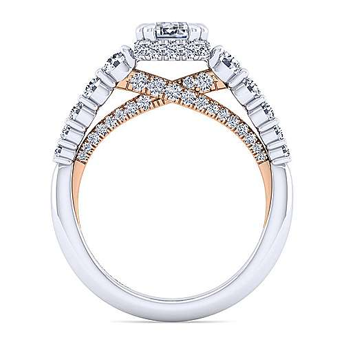 14K White-Rose Gold Hidden Halo Emerald Cut Diamond Engagement Ring