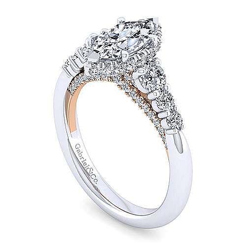 14K White-Rose Gold Hidden Halo Marquise Shape Diamond Engagement Ring