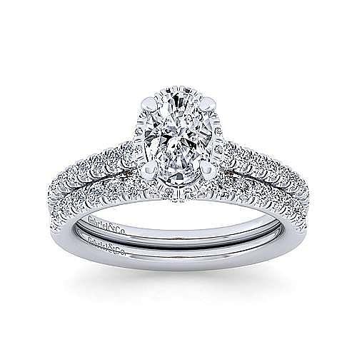 14K White-Rose Gold Hidden Halo Oval Diamond Engagement Ring