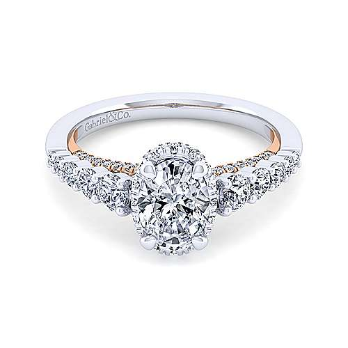 14K White-Rose Gold Hidden Halo Oval Diamond Engagement Ring
