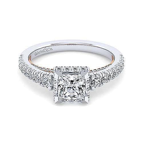 14K White-Rose Gold Hidden Halo Princess Cut Diamond Engagement Ring