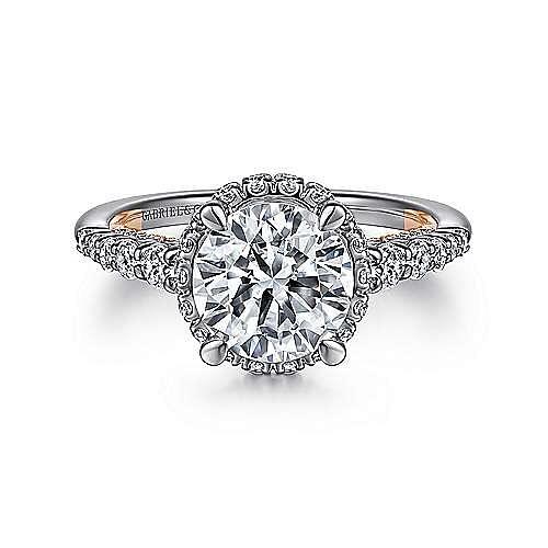 14K White-Rose Gold Hidden Halo Round Diamond Engagement Ring