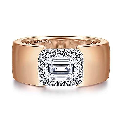 14K White-Rose Gold Horizontal Halo Emerald Cut Diamond Engagement Ring