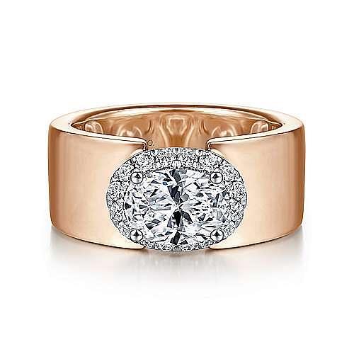 14K White-Rose Gold Horizontal Oval Halo Diamond Engagement Ring