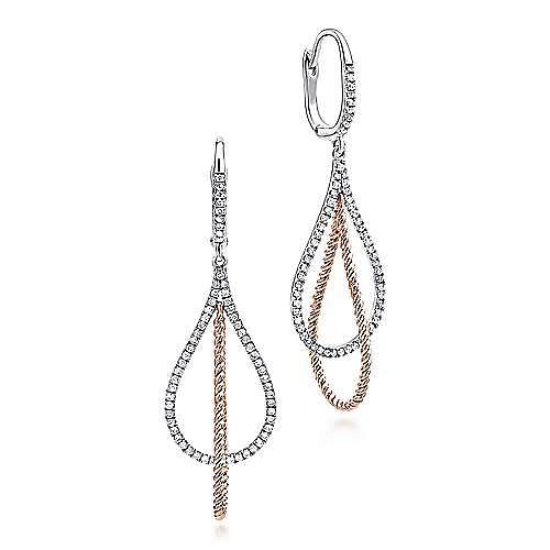 14K White-Rose Gold Layered Open Teardrop Diamond Drop Earrings