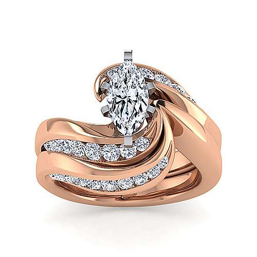 14K White-Rose Gold Marquise Shape Diamond Bypass Engagement Ring