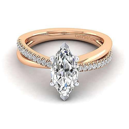 14K White-Rose Gold Marquise Shape Diamond Criss Cross Engagement Ring