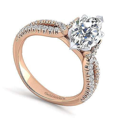 14K White-Rose Gold Marquise Shape Diamond Twisted Engagement Ring