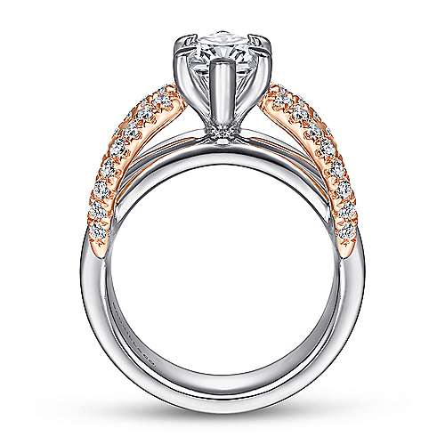 14K White-Rose Gold Marquise Shape Diamond Wide Band Engagement Ring