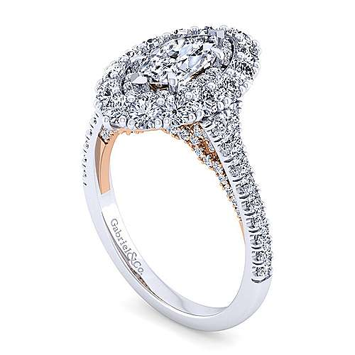 14K White-Rose Gold Marquise Shape Double Halo Diamond Engagement Ring
