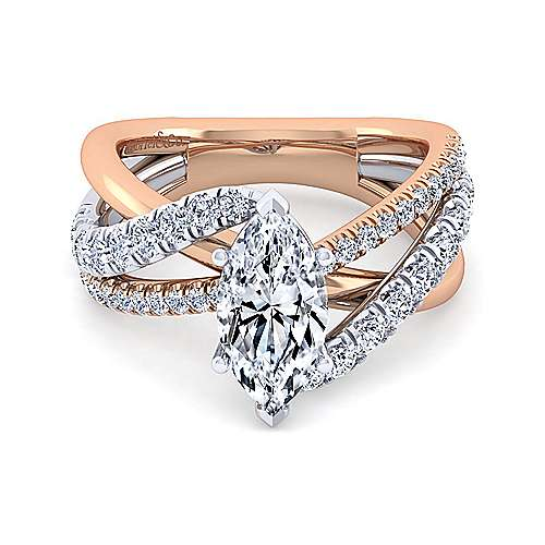 14K White-Rose Gold Marquise Shape Free Form Diamond Engagement Ring