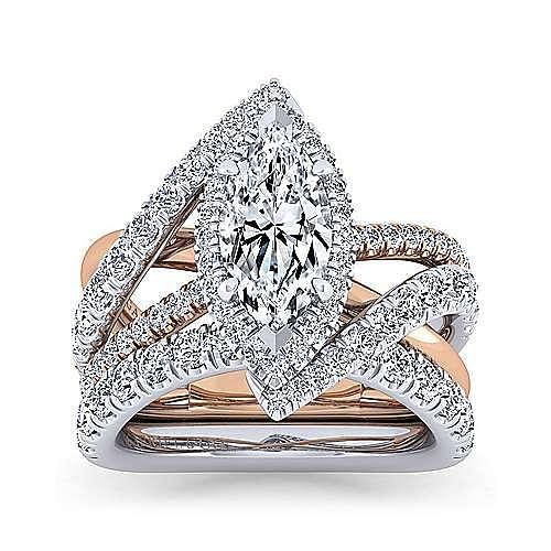 14K White-Rose Gold Marquise Shape Halo Diamond Engagement Ring
