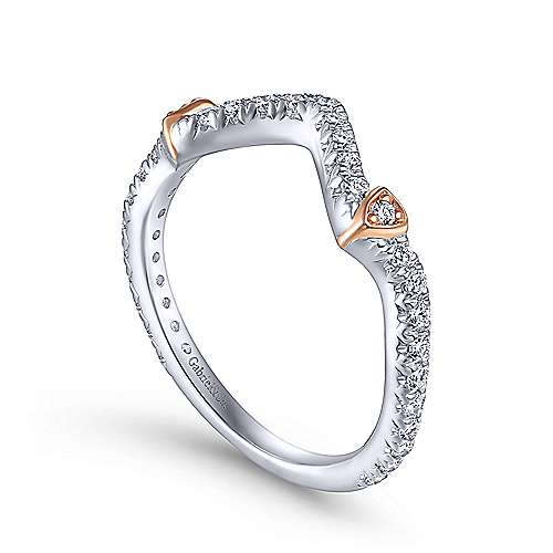 14K White-Rose Gold Matching Wedding Band