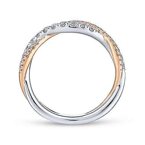 14K White-Rose Gold Matching Wedding Band