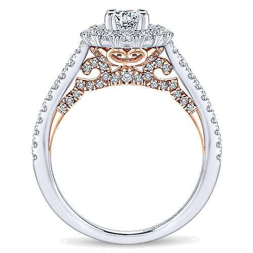 14K White-Rose Gold Oval Complete Diamond Engagement Ring
