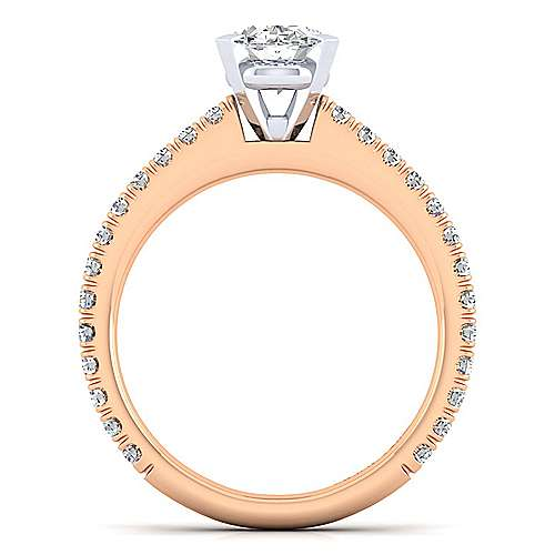 14K White-Rose Gold Oval Diamond Engagement Ring