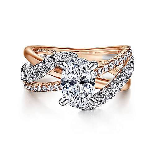 14K White-Rose Gold Oval Diamond Free Form Engagement Ring