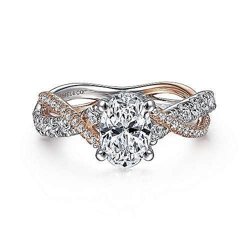 14k White Rose Gold Oval Diamond Twisted Engagement Ring Er14460o4t44jj Gabriel Co