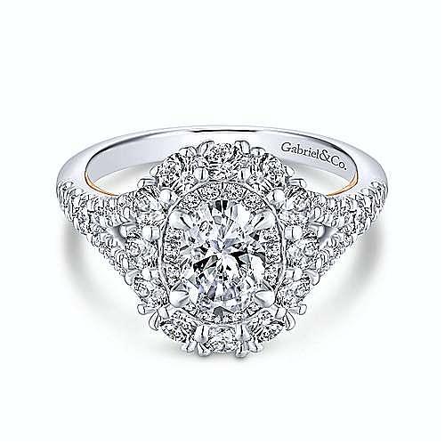 14K White-Rose Gold Oval Double Halo Diamond Engagement Ring