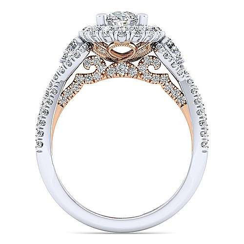 14K White-Rose Gold Oval Double Halo Diamond Engagement Ring