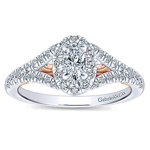 14K White-Rose Gold Oval Halo Complete Diamond Engagement Ring
