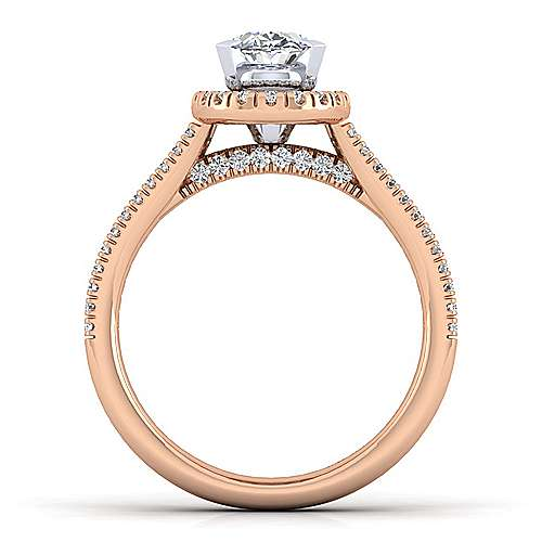 14K White-Rose Gold Oval Halo Diamond Engagement Ring