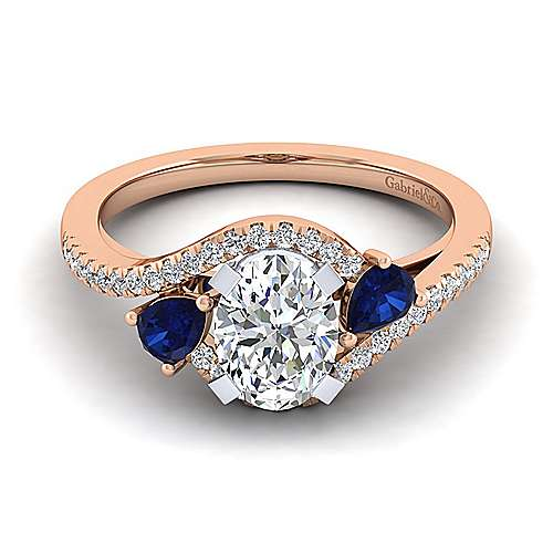14K White-Rose Gold Oval Three Stone Sapphire and Diamond Engagement Ring