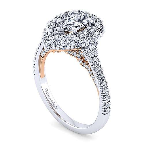 14K White-Rose Gold Pear Shape Double Halo Diamond Engagement Ring