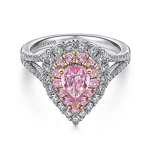14K White-Rose Gold Pear Shape Double Halo Diamond and Pink Sapphire Engagement Ring