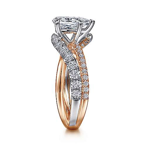 14K White-Rose Gold Pear Shape Free Form Diamond Engagement Ring