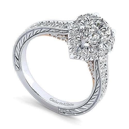 14K White-Rose Gold Pear Shape Halo Diamond Engagement Ring