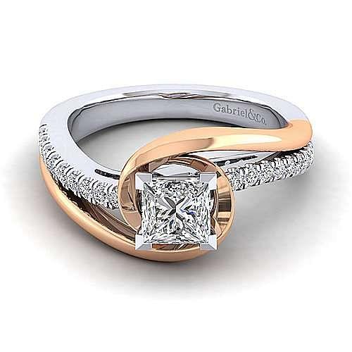14k White Rose Gold Princess Cut Diamond Engagement Ring Er10309s4t44jj Gabriel Co
