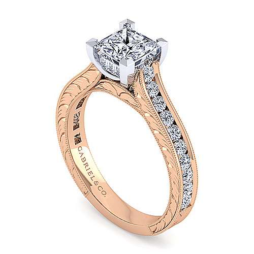 14K White-Rose Gold Princess Cut Diamond Engagement Ring