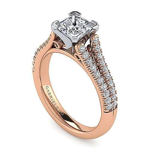 14K White-Rose Gold Princess Cut Diamond Engagement Ring