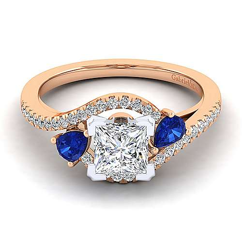 14K White-Rose Gold Princess Cut Three Stone Sapphire and Diamond Engagement Ring