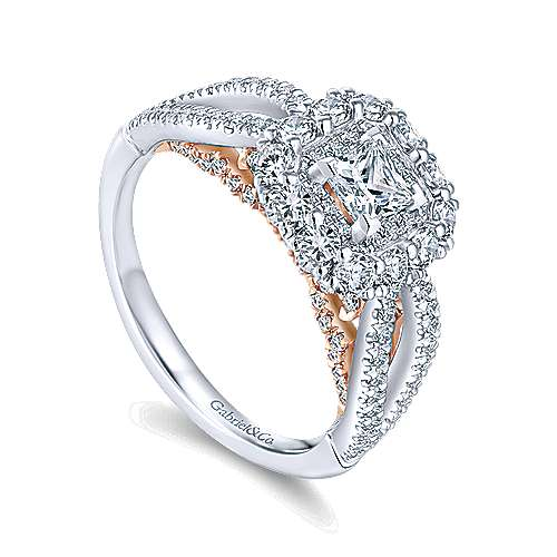 14K White-Rose Gold Princess Double Halo Complete Diamond Engagement Ring