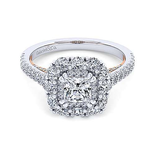 14K White-Rose Gold Princess Double Halo Diamond Engagement Ring