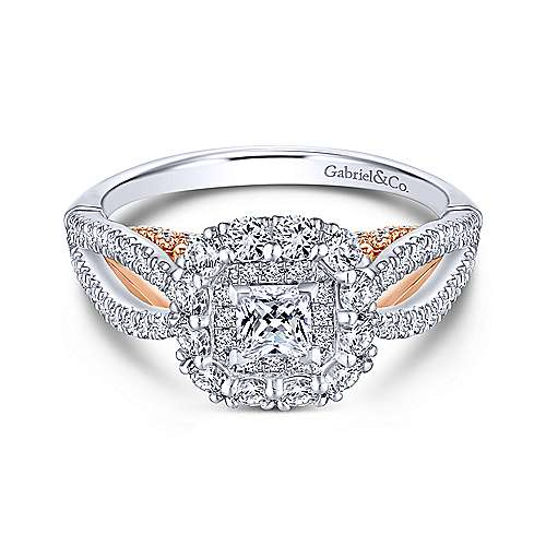 14K White-Rose Gold Princess Double Halo Diamond Engagement Ring