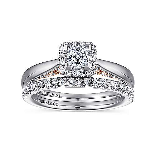 14K White-Rose Gold Princess Halo Complete Diamond Engagement Ring