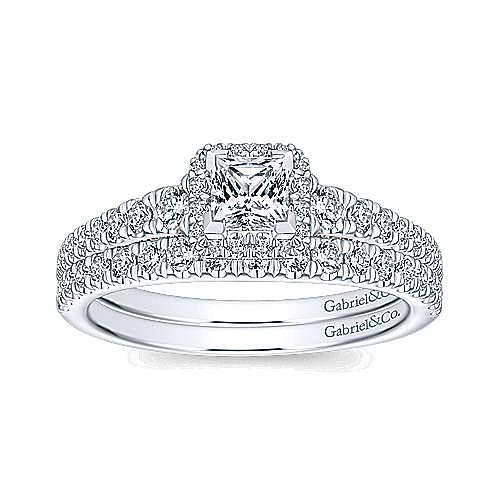 14K White-Rose Gold Princess Halo Diamond Engagement Ring