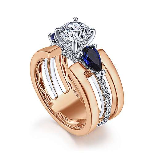 14K White-Rose Gold Round 3 Stone Sapphire and Diamond Engagement Ring